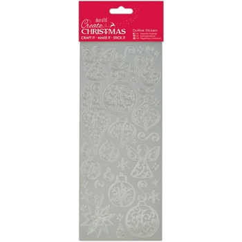 DoCrafts SILVER BAUBLES AND ANGELS Outline Stickers Create Christmas Papermania 810924