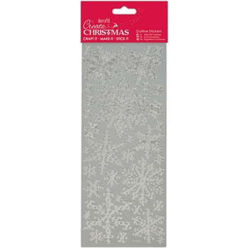 DoCrafts SILVER SNOWFLAKES Outline Stickers Create Christmas Papermania 810922