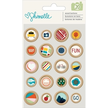 American Crafts Shimelle WOODEN BUTTONS Go Now Go 375278