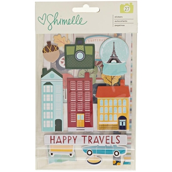 American Crafts Shimelle CHIPBOARD STICKERS Go Now Go 375276