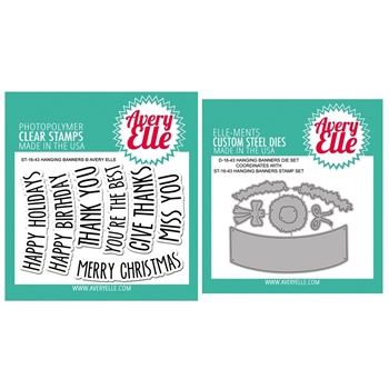 Avery Elle Clear Stamp and Die Set SETHBAE Hanging Banners SET*