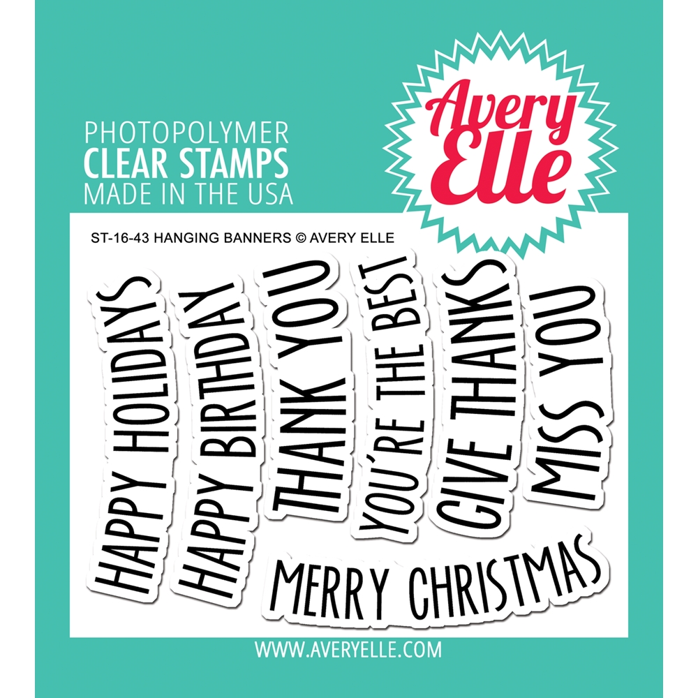Avery Elle Clear Stamps HANGING BANNERS Set ST-16-43 zoom image