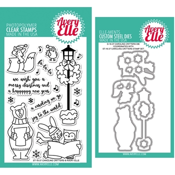 Avery Elle Clear Stamp and Die SETCCAE Caroling Critters SET