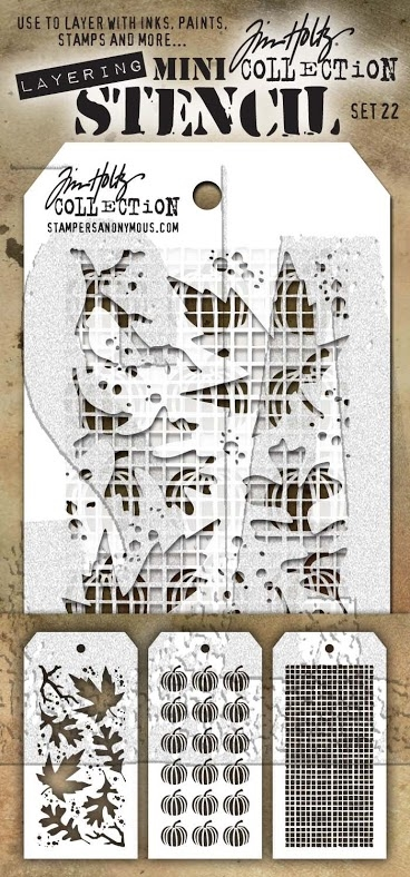 Tim Holtz MINI STENCIL SET 22 MST022 zoom image
