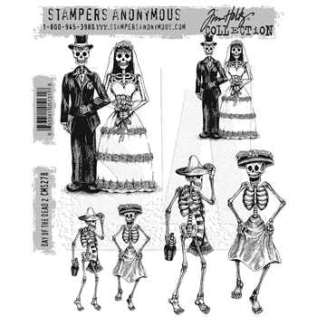 Tim Holtz Cling Rubber Stamps 2016 DAY OF THE DEAD #2 CMS278