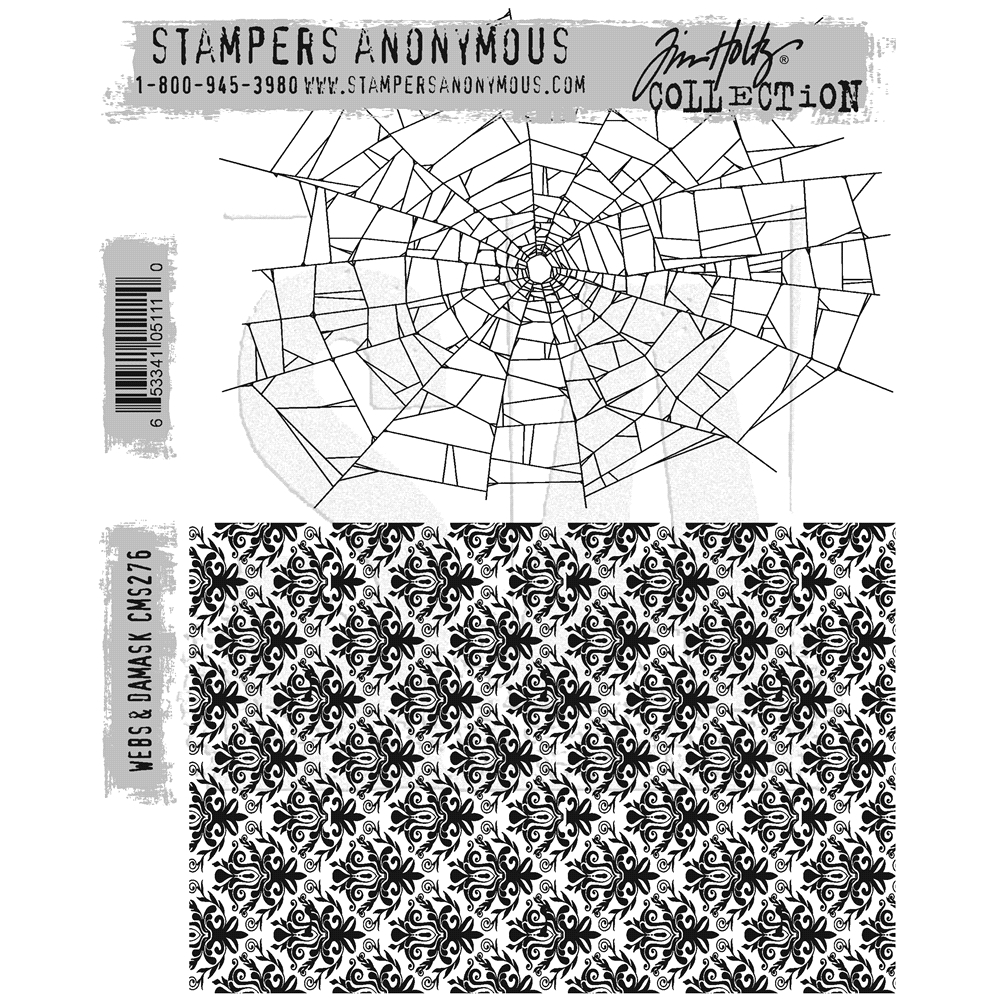 Tim Holtz Cling Rubber Stamps WEBS & DAMASK CMS276 zoom image