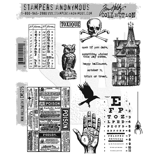 Tim Holtz Cling Rubber Stamps MINI HALLOWEEN #5 CMS275 Preview Image