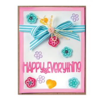 Sizzix Framelits CARD FRONT WITH BLOCK WORDS Drop-Ins Wafer Thin Die Set 661562