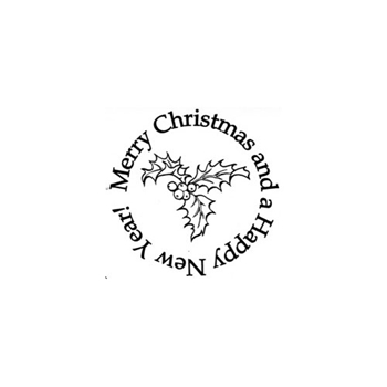 Verses HOLLY MERRY CHRISTMAS Cling Stamp CH0149FCL