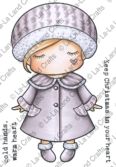 La-La Land Crafts Cling Stamp WINTER COAT PAPER DOLL MARCI 5306