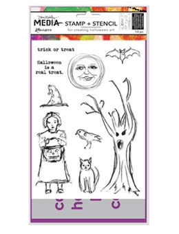 Dina Wakley Media HALLOWEEN Stamp and Stencil Set MDZ53613