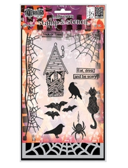Dyan Reaveley EAT DRINK AND BE SCARY Stamp and Stencil Dylusions Set DYZ53590