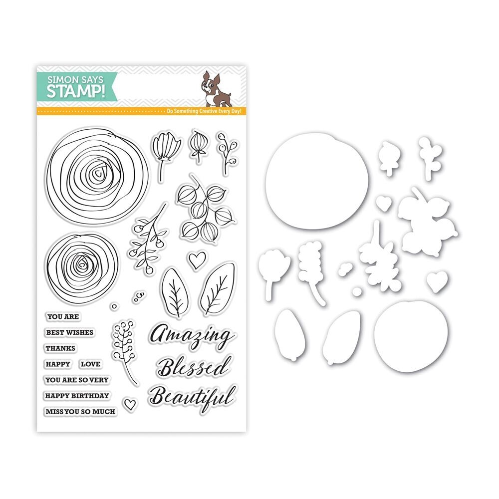 Simon Says Stamps and Dies SKETCH RANUNCULUS Set261SR zoom image