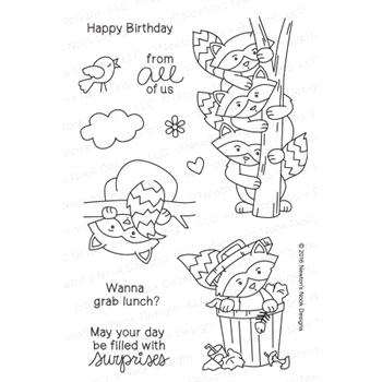 Newton's Nook Designs RACCOON RASCALS Clear Stamp Set 20160804