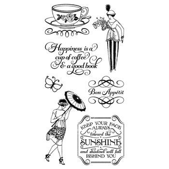 Graphic 45 CAFE PARISIAN 3 Cling Stamps IC0367*