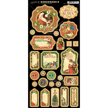 Graphic 45 ST. NICHOLAS Journaling Chipboard Tags 4501416