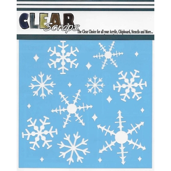 Clear Scraps ICE CRYSTAL SNOWFLAKES 6 x 6 Stencils 011385