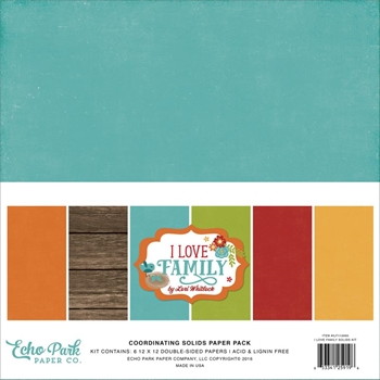 Echo Park I LOVE FAMILY 12 x 12 Double Sided Solids Paper Pack ILF113060