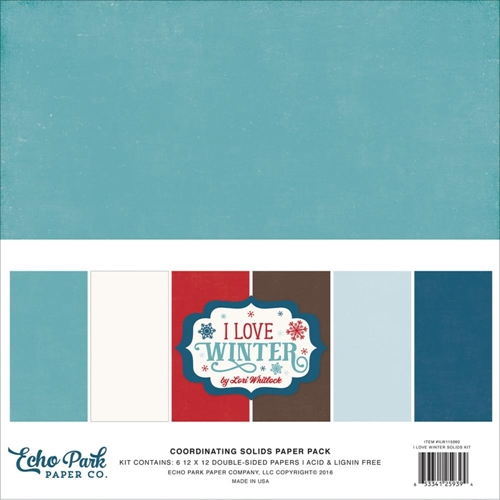 Echo Park I LOVE WINTER 12 x 12 Double Sided Solids Paper Pack ILW115060 Preview Image