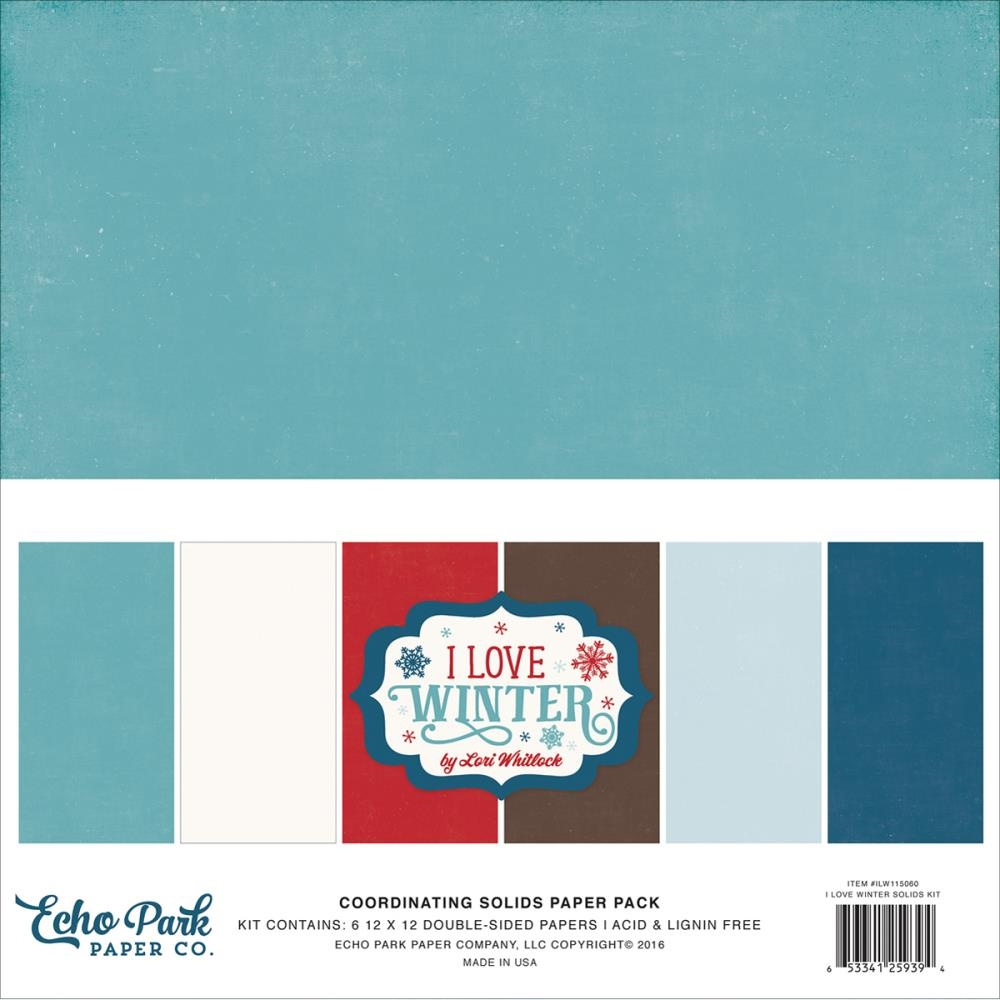 Echo Park I LOVE WINTER 12 x 12 Double Sided Solids Paper Pack ILW115060 zoom image