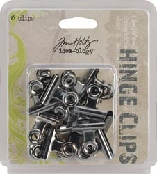 Tim Holtz Idea-ology HINGE CLIPS Nickel Metal Hardware  TH92692 zoom image