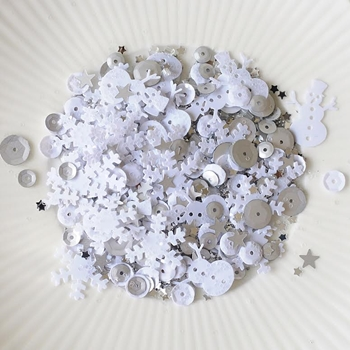 Little Things From Lucy's Cards WHITE CHRISTMAS Sequin Shaker Mix LB90