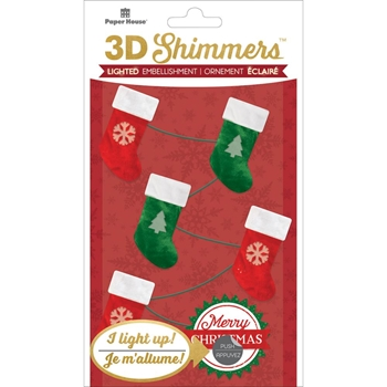 Paper House STOCKING GARLAND LED Shimmers Stickers EMB0007
