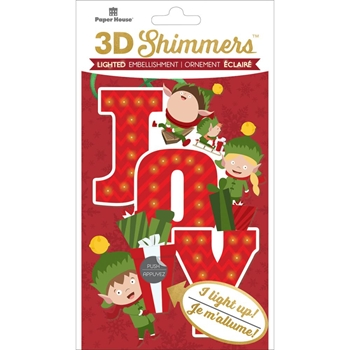 Paper House ELF JOY LED Shimmers Stickers EMB0006
