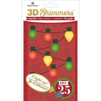 Paper House CHRISTMAS LIGHTS GARLAND LED Shimmers Stickers EMB0009