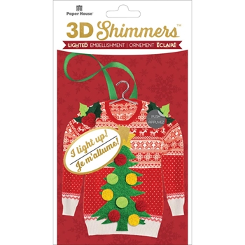 Paper House UGLY SWEATER LED Shimmers Stickers EMB0021