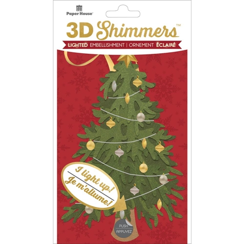 Paper House TRADITIONAL CHRISTMAS TREE LED Shimmers Stickers EMB0024 Preview Image