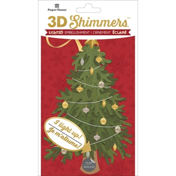 Paper House TRADITIONAL CHRISTMAS TREE LED Shimmers Stickers EMB0024