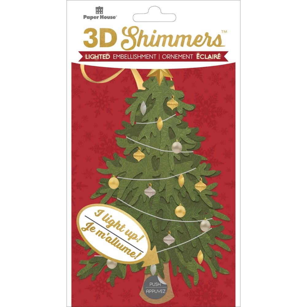 Paper House TRADITIONAL CHRISTMAS TREE LED Shimmers Stickers EMB0024 zoom image
