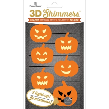 Paper House PUMPKIN GARLAND LED Shimmers Stickers EMB0023