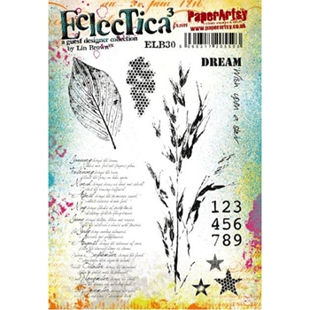 Paper Artsy ECLECTICA3 LIN BROWN 30 Rubber Cling Stamp ELB30