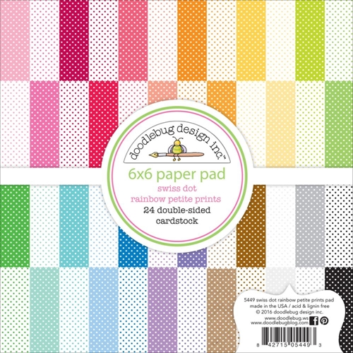 Doodlebug SWISS DOT RAINBOW Petite Prints 6x6 Paper Pad 5449 Preview Image