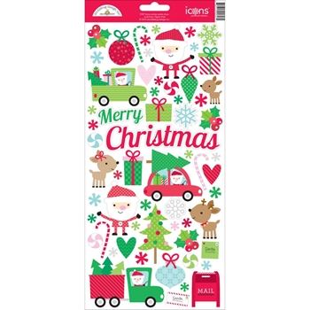 Doodlebug HERE COMES SANTA CLAUS Icons Cardstock Stickers 5357