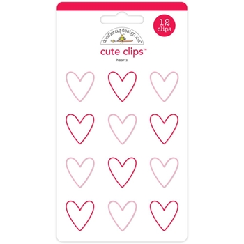 Doodlebug HEARTS Cute Clips Paperclips Here Comes Santa Claus 5351