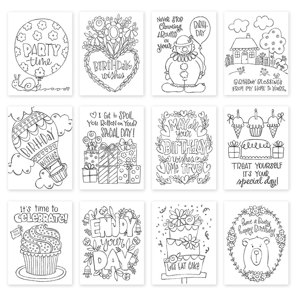 Simon Says Stamp SUZY'S BIRTHDAY NOTES Water Color Paintable Prints 12SUZBD
