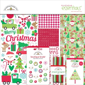 Doodlebug HERE COMES SANTA CLAUS Essentials Page Kit 12x12 Inches 5405