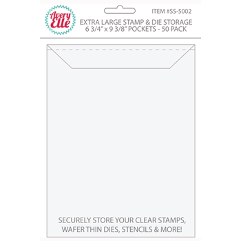 Avery Elle EXTRA LARGE Stamp and Die Storage Pockets 6 3/4 x 9 3/8 Set of 50 SS-5002