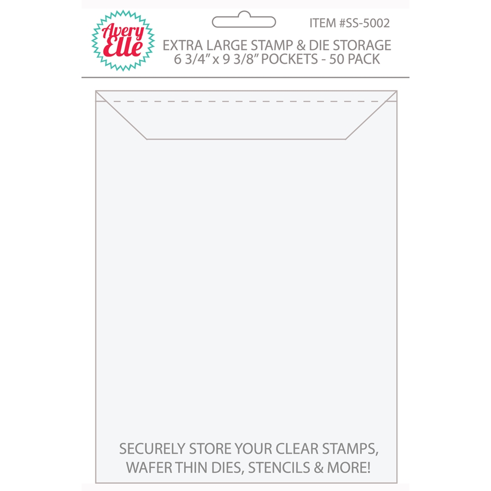 Avery Elle EXTRA LARGE Stamp and Die Storage Pockets 6 3/4 x 9 3/8 Set of 50 SS-5002 zoom image