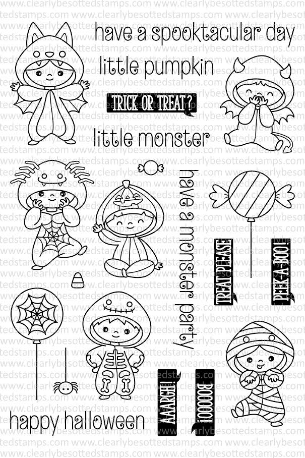 Clearly Besotted ALL IN ONESIE HALLOWEEN Clear Stamp Set  zoom image