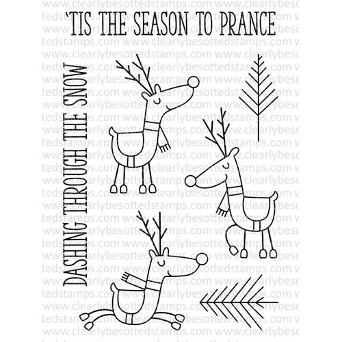 Clearly Besotted Stamps Let's Prance Clear Stamp Set
