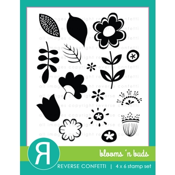 Reverse Confetti BLOOMS N' BUDS Clear Stamp Set