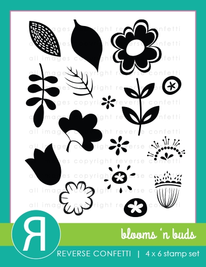 Reverse Confetti BLOOMS N' BUDS Clear Stamp Set zoom image