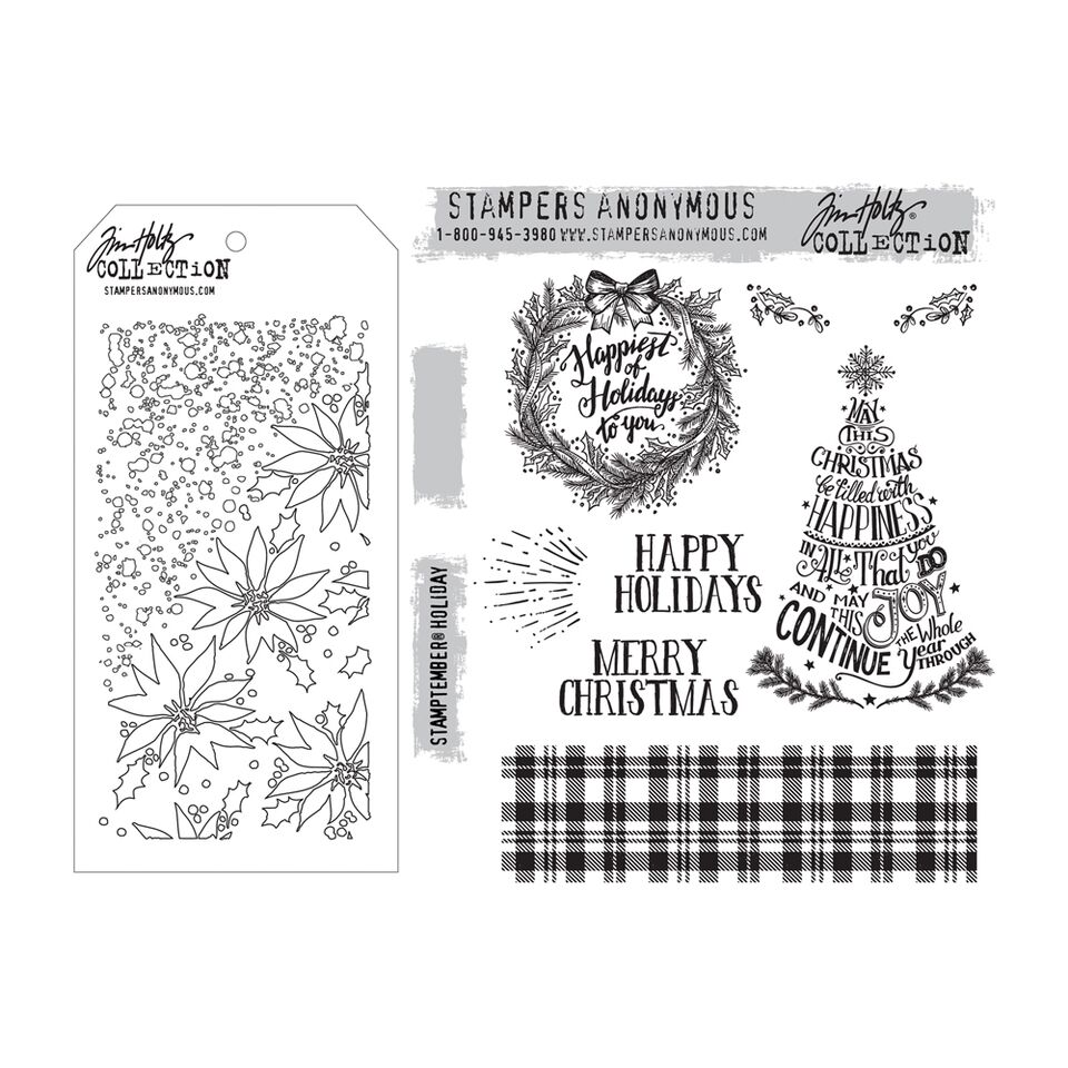 Tim Holtz STAMPtember Holiday Stamp and Stencil Set  SPRTH16
