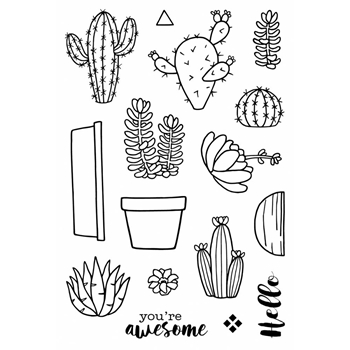 Jane's Doodles CACTUS Clear Stamp Set 742774