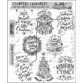 Tim Holtz Cling Rubber Stamps 2016 MINI DOODLE GREETINGS CMS287