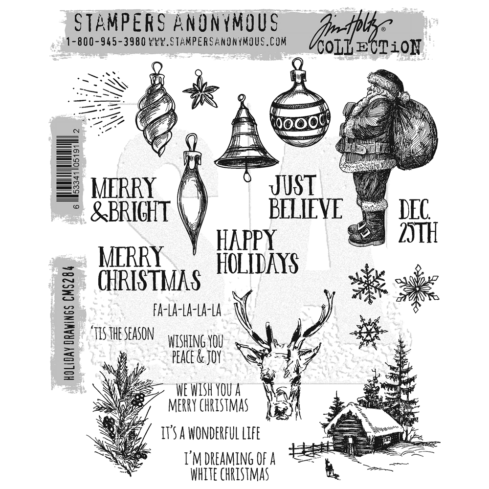 Tim Holtz Cling Rubber Stamps HOLIDAY DRAWINGS CMS284 zoom image